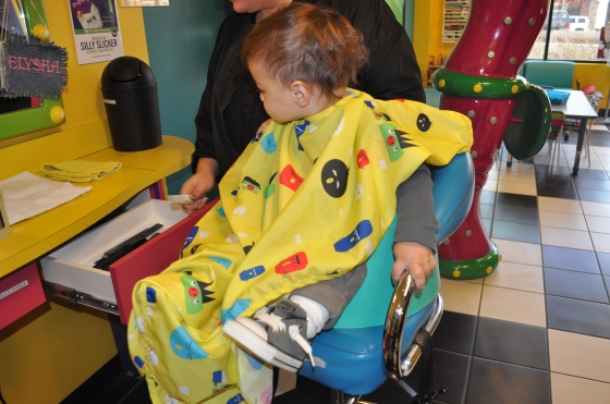 Checking everything out in the big boy salon chair.